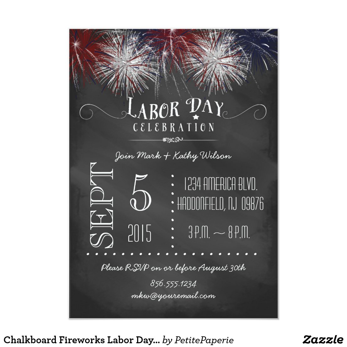 Chalkboard Fireworks Labor Day Party Invitation