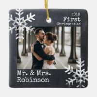 Chalkboard First Christmas Mr. & Mrs. Custom Photo Ceramic Ornament