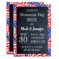 Chalkboard Flag Memorial Day Party Invitation