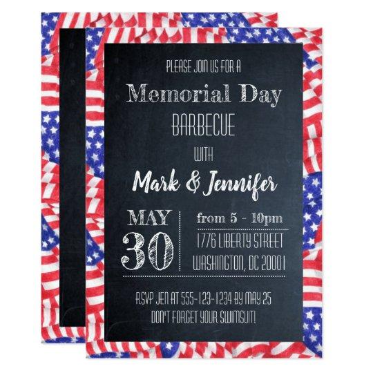 chalkboard flag memorial day party invitation zazzle com