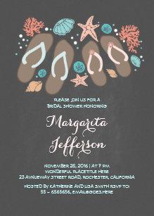 380fe4d46aa053 Chalkboard flip flops beach bridal shower invite