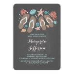 "Chalkboard flip flops beach bridal shower invite 5"" x 7"" invitation card"