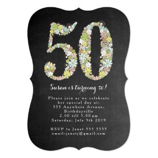 Chalkboard Floral 50th Birthday Party Invite