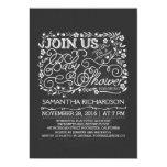Chalkboard floral baby shower invitation