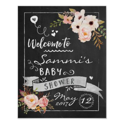 Chalkboard Welcome Baby Shower Sign Zazzlecom