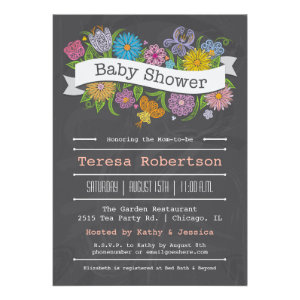 Chalkboard Floral Banner Baby Shower Invitation