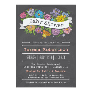 "Chalkboard Floral Banner Baby Shower Invitation 5"" X 7"" Invitation Card"