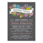 Chalkboard Floral Banner Garden Party Invitation