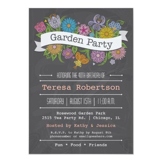 chalkboard floral banner garden party invitation zazzle com