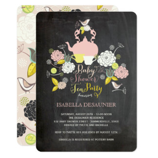 Chalkboard Floral Blooms & Birds Baby Shower Party Card