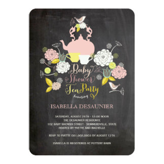 "Chalkboard Floral Blooms & Birds Baby Shower Party 4.5"" X 6.25"" Invitation Card"