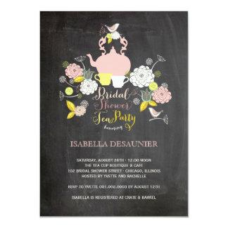 Chalkboard Floral Blooms & Birds Bridal Shower Invitation