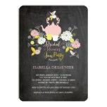 Chalkboard Floral Blooms & Birds Bridal Shower 4.5x6.25 Paper Invitation Card