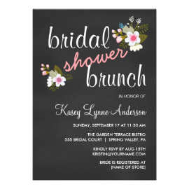 Chalkboard Floral Bridal Shower Brunch Invites
