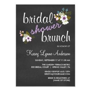 Chalkboard Floral Bridal Shower Brunch Invites 4.5