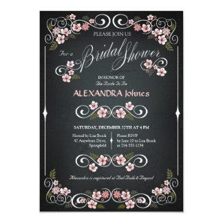 Chalkboard Floral Bridal Shower Chic Vintage 5x7 Paper Invitation Card