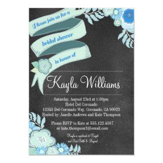 "Chalkboard Floral Bridal shower invitation Teal 5"" X 7"" Invitation Card"