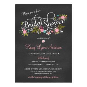 Chalkboard Floral Bridal Shower Invitations 4.5