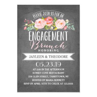 Chalkboard Floral Brunch | Engagement Party Card