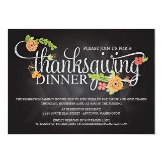 "Chalkboard Floral Elegant Thanksgiving Dinner 5"" X 7"" Invitation Card"