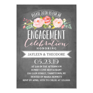 Chalkboard Floral Engagement | Engagement Party Card