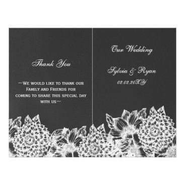 chalkboard floral Folding wedding programs