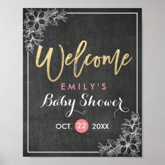 Chalkboard Floral Frame Baby Shower Welcome Sign
