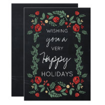 chalkboard floral garden holiday card