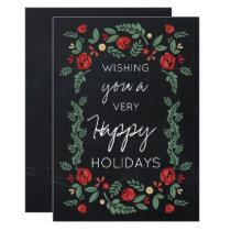 chalkboard floral garden holiday card