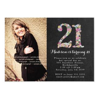 "Chalkboard Floral Girls 21st Birthday Party Invite 5"" X 7"" Invitation Card"