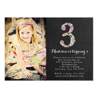"Chalkboard Floral Girls 3rd Birthday Party Invite 5"" X 7"" Invitation Card"