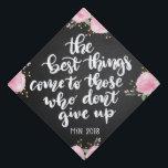 "Chalkboard Floral Graduation Handwritten Script Graduation Cap Topper<br><div class=""desc"">Chalkboard Floral Graduation Handwritten Script</div>"