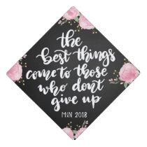 Chalkboard Floral Graduation Handwritten Script Graduation Cap Topper