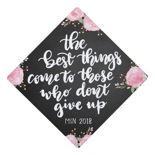 chalkboard floral graduation handwritten script graduation cap