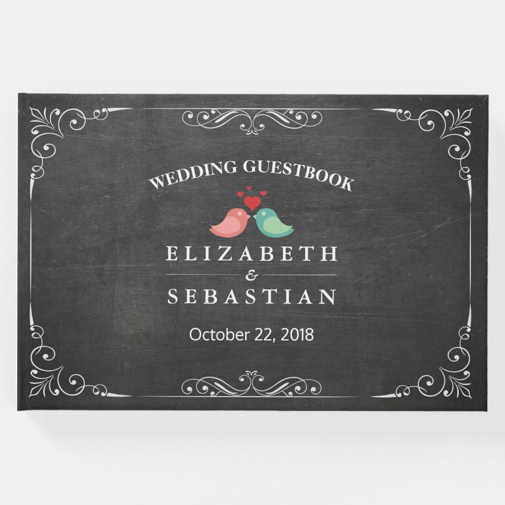 Chalkboard Floral Love Birds Wedding Guestbook