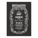 chalkboard floral mason jar rustic baby shower 5x7 paper invitation card