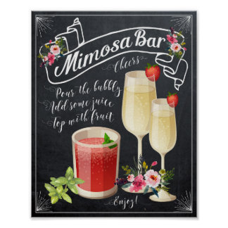 chalkboard floral Mimosa Bar Wedding shower Sign