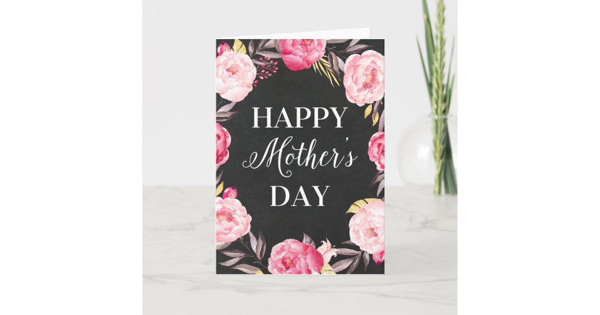 Chalkboard Floral Mother S Day Greeting Card Zazzle Com