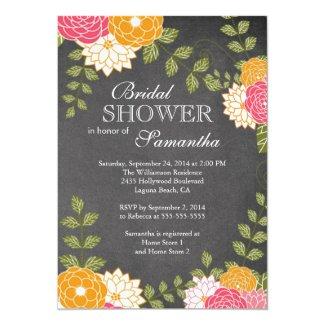Chalkboard Floral Mums Flower Bridal Shower 5x7 Paper Invitation Card