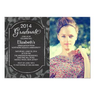 Chalkboard Floral Photo Graduation Party Invite