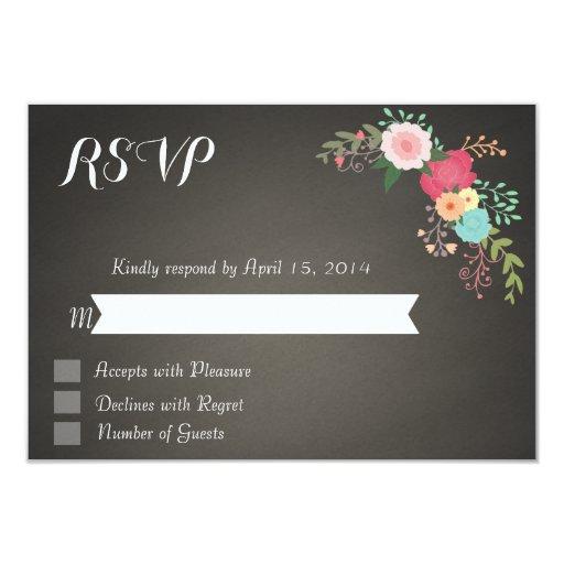 Chalkboard floral RSVP Cards