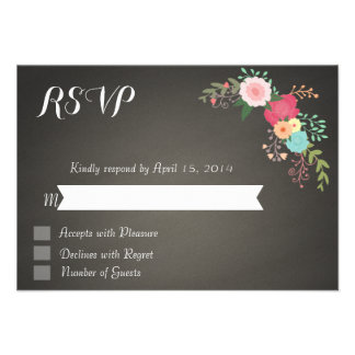 Chalkboard floral RSVP Cards Announcements