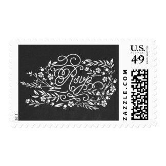 Chalkboard floral RSVP wedding postage stamps
