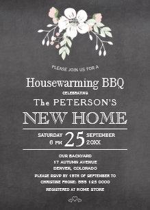 Chalkboard Floral Rustic Housewarming Bbq Invitation