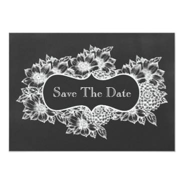 chalkboard floral save the date card