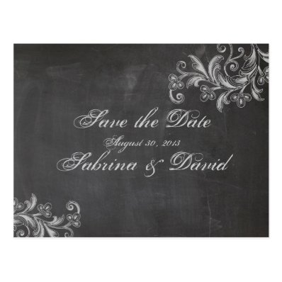 Chalkboard Floral Save the Date Postcard