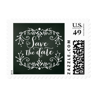 Chalkboard Floral Save the Date Stamp