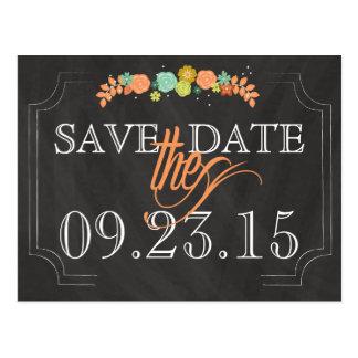 Chalkboard Floral SAVE THE DATE Wedding Postcard