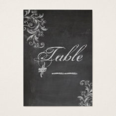 Chalkboard Floral Table Number Card at Zazzle