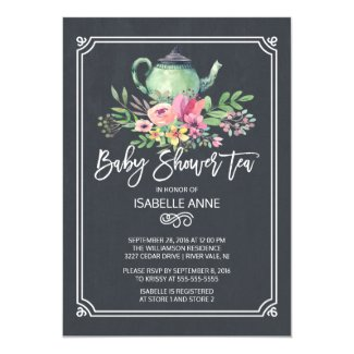 Chalkboard Floral Tea Party Neutral Baby Shower Invitation